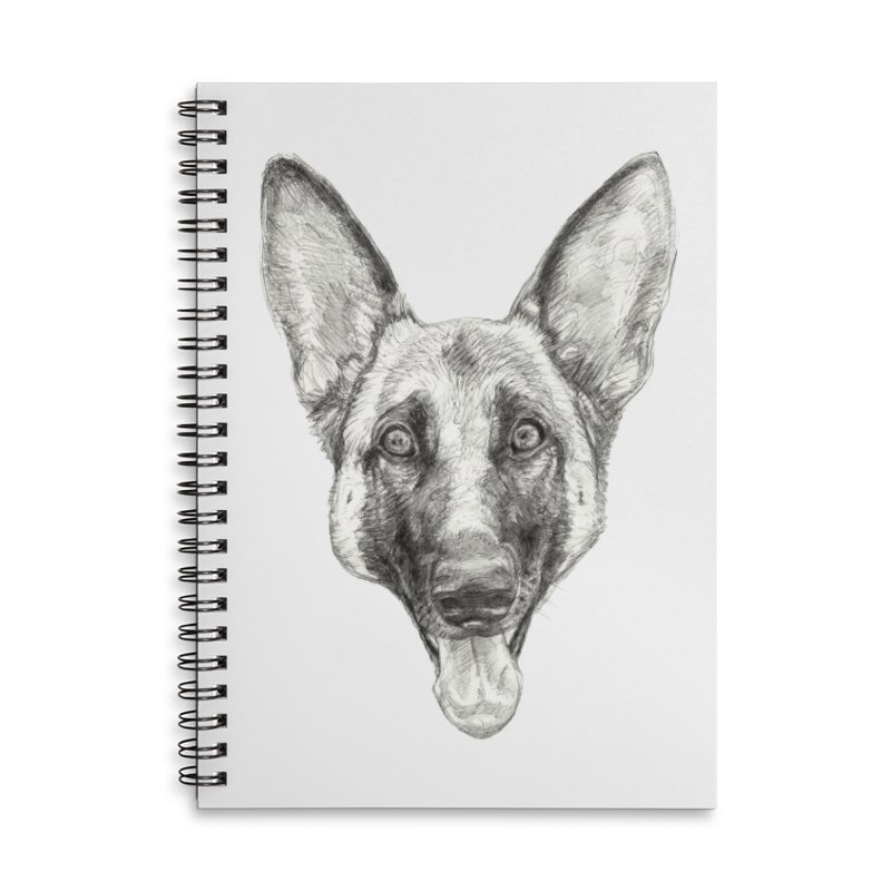 Cleo, the German Shepherd Accessories Lined Spiral Notebook by Ayota Illustration Shop