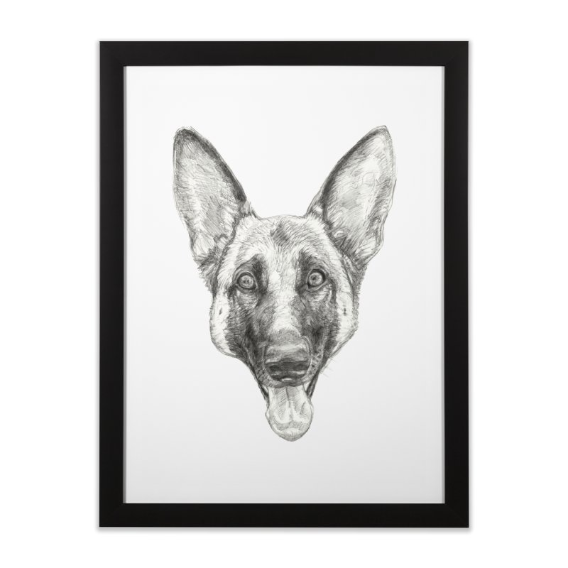 Cleo, the German Shepherd Home Framed Fine Art Print by Ayota Illustration Shop