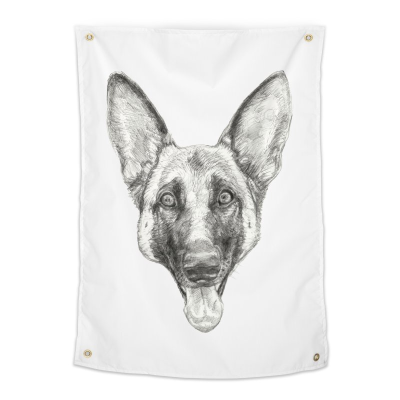Cleo, the German Shepherd Home Tapestry by Ayota Illustration Shop