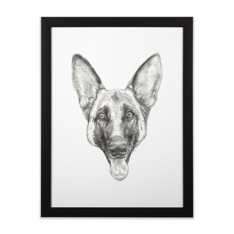 Cleo, the German Shepherd Home Framed Fine Art Print by Ayota Illustration Shop