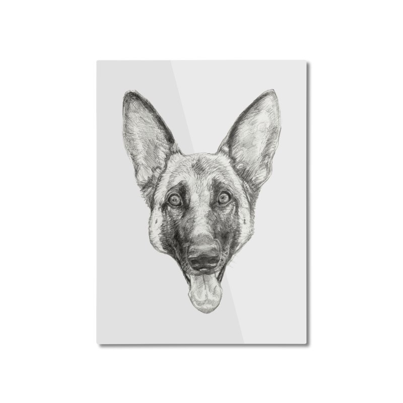 Cleo, the German Shepherd Home Mounted Aluminum Print by Ayota Illustration Shop