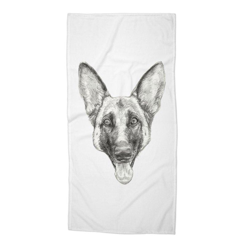 Cleo, the German Shepherd Accessories Beach Towel by Ayota Illustration Shop
