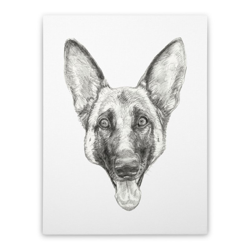 Cleo, the German Shepherd Home Stretched Canvas by Ayota Illustration Shop