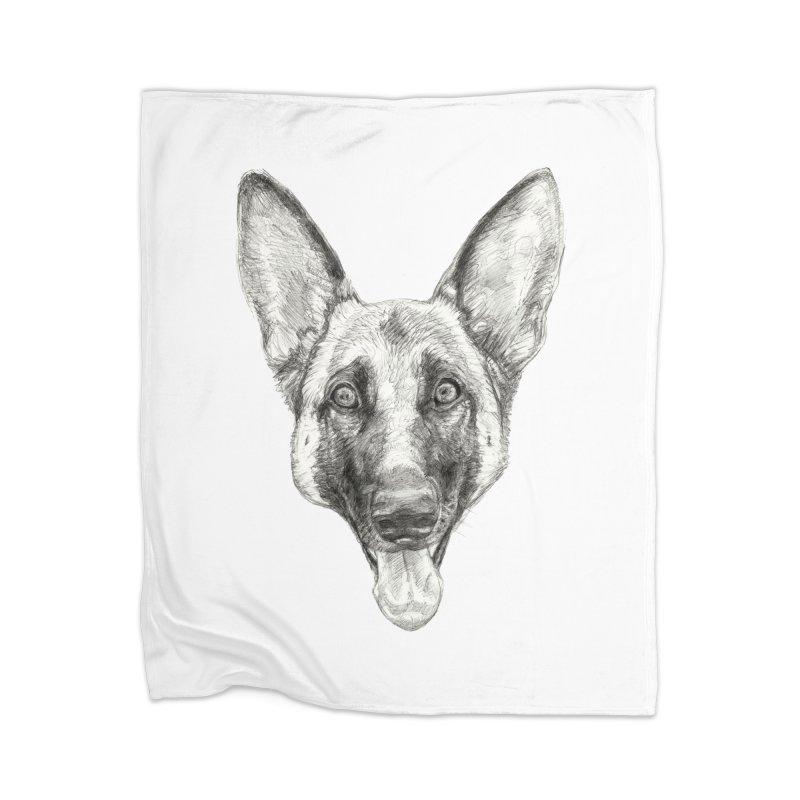 Cleo, the German Shepherd Home Blanket by Ayota Illustration Shop
