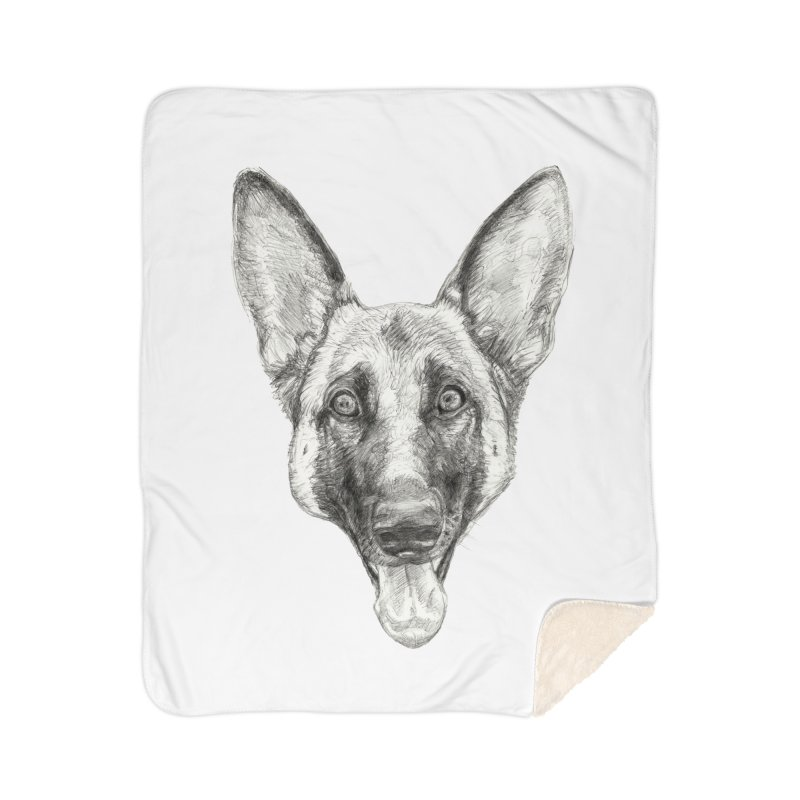 Cleo, the German Shepherd Home Sherpa Blanket Blanket by Ayota Illustration Shop