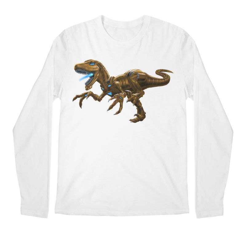 Rusty Robot Raptor Men's Regular Longsleeve T-Shirt by Ayota Illustration Shop