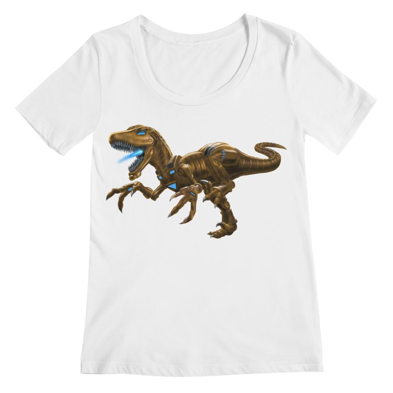 Rusty Robot Raptor Women's Scoopneck by Ayota Illustration Shop