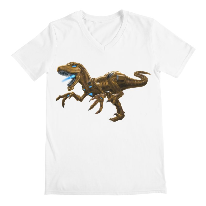 Rusty Robot Raptor Men's V-Neck by Ayota Illustration Shop