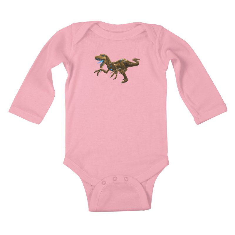 Rusty Robot Raptor Kids Baby Longsleeve Bodysuit by Ayota Illustration Shop