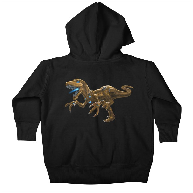 Rusty Robot Raptor Kids Baby Zip-Up Hoody by Ayota Illustration Shop