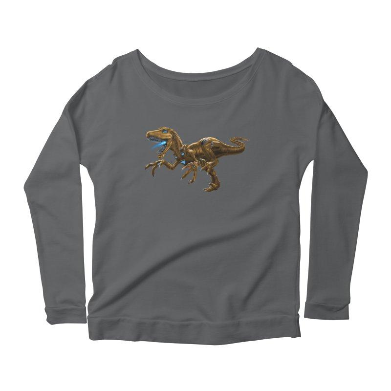 Rusty Robot Raptor Women's Scoop Neck Longsleeve T-Shirt by Ayota Illustration Shop