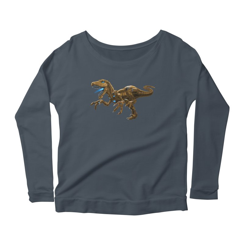 Rusty Robot Raptor Women's Scoop Neck Longsleeve T-Shirt by Ayota Illustration Shop