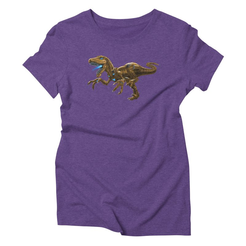 Rusty Robot Raptor Women's Triblend T-Shirt by Ayota Illustration Shop