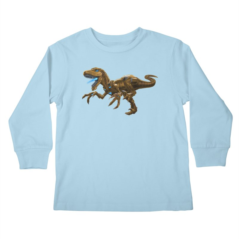 Rusty Robot Raptor Kids Longsleeve T-Shirt by Ayota Illustration Shop
