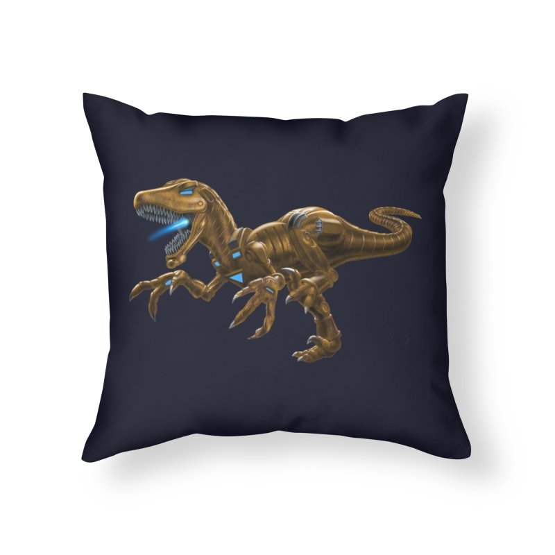 Rusty Robot Raptor Home Throw Pillow by Ayota Illustration Shop