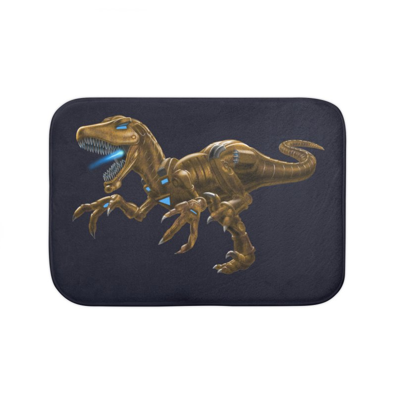 Rusty Robot Raptor Home Bath Mat by Ayota Illustration Shop