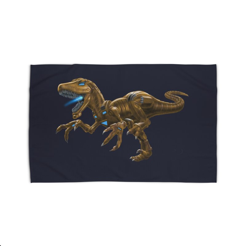 Rusty Robot Raptor Home Rug by Ayota Illustration Shop