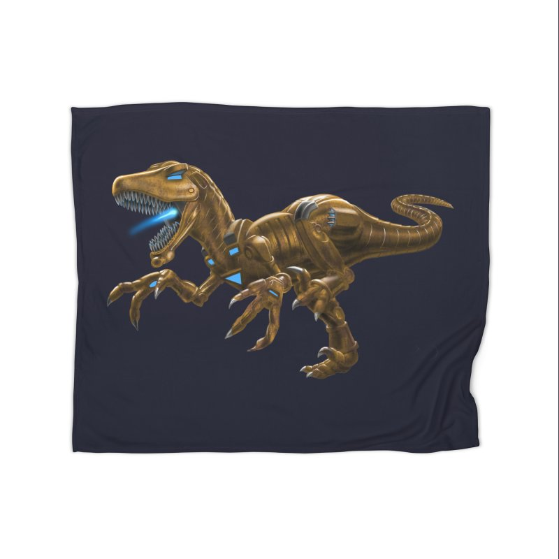 Rusty Robot Raptor Home Blanket by Ayota Illustration Shop