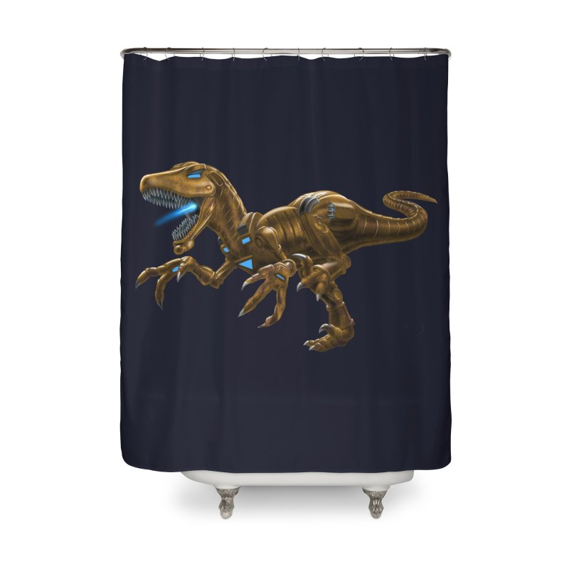 Rusty Robot Raptor Home Shower Curtain by Ayota Illustration Shop