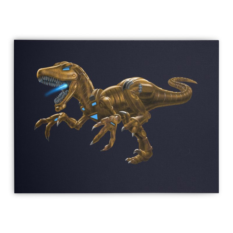 Rusty Robot Raptor Home Stretched Canvas by Ayota Illustration Shop