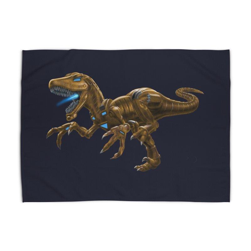 Rusty Robot Raptor Home Rug by Ayota Illustration Shop