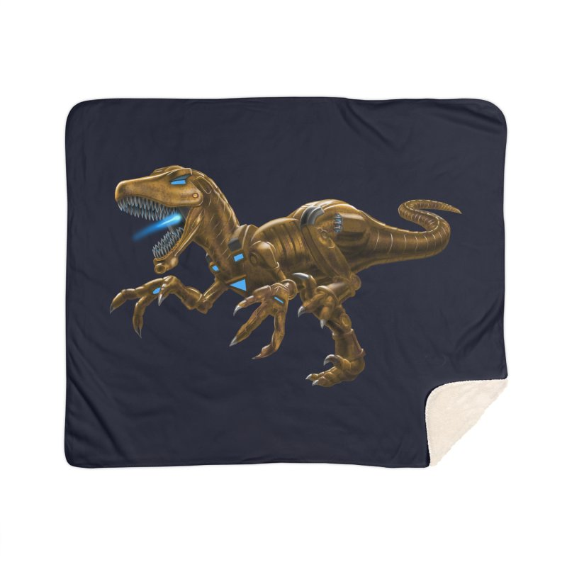 Rusty Robot Raptor Home Sherpa Blanket Blanket by Ayota Illustration Shop