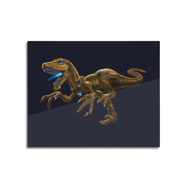 Rusty Robot Raptor Home Mounted Aluminum Print by Ayota Illustration Shop