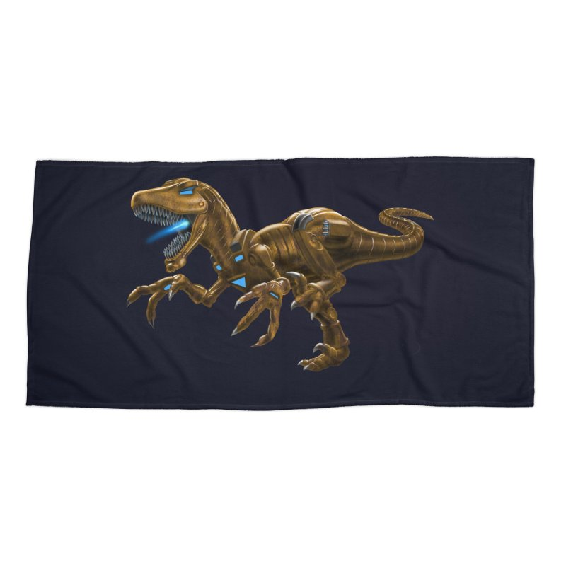 Rusty Robot Raptor Accessories Beach Towel by Ayota Illustration Shop