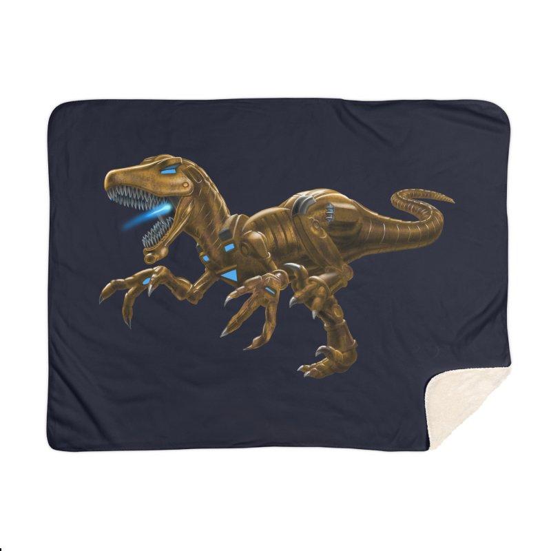 Rusty Robot Raptor Home Blanket by Ayota Illustration Shop
