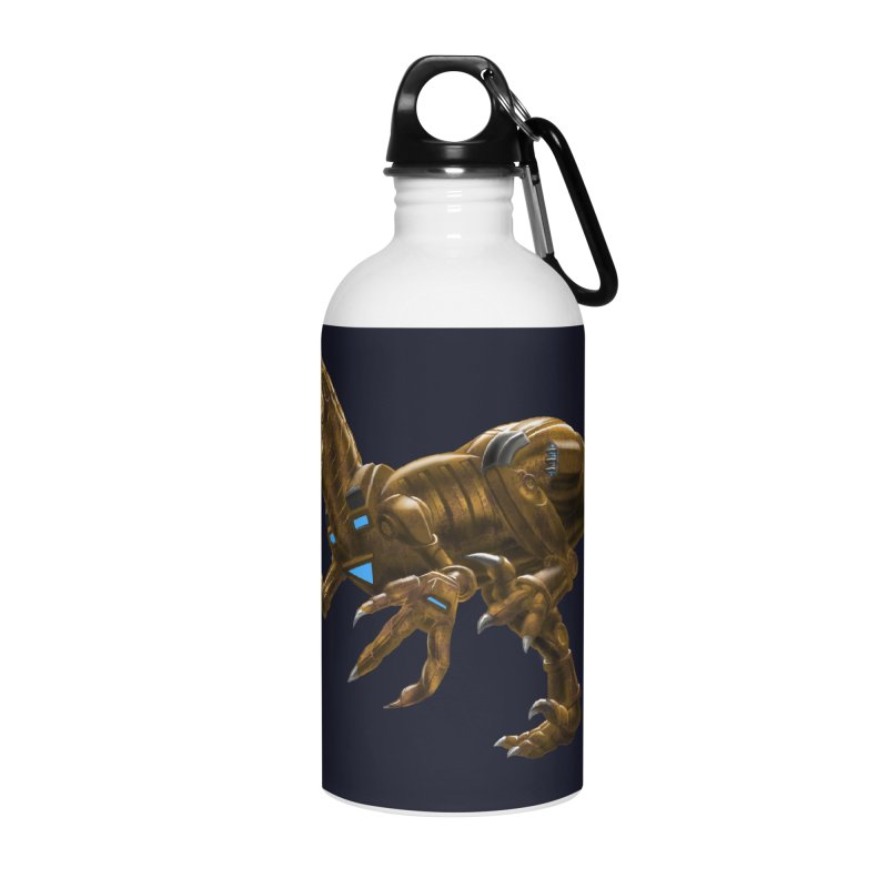 Rusty Robot Raptor Accessories Water Bottle by Ayota Illustration Shop