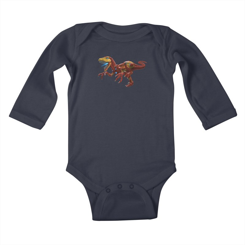 Iron Raptor Kids Baby Longsleeve Bodysuit by Ayota Illustration Shop