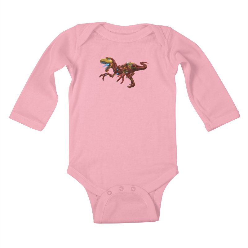 Iron Raptor Kids Baby Longsleeve Bodysuit by Ayota Illustration Shop