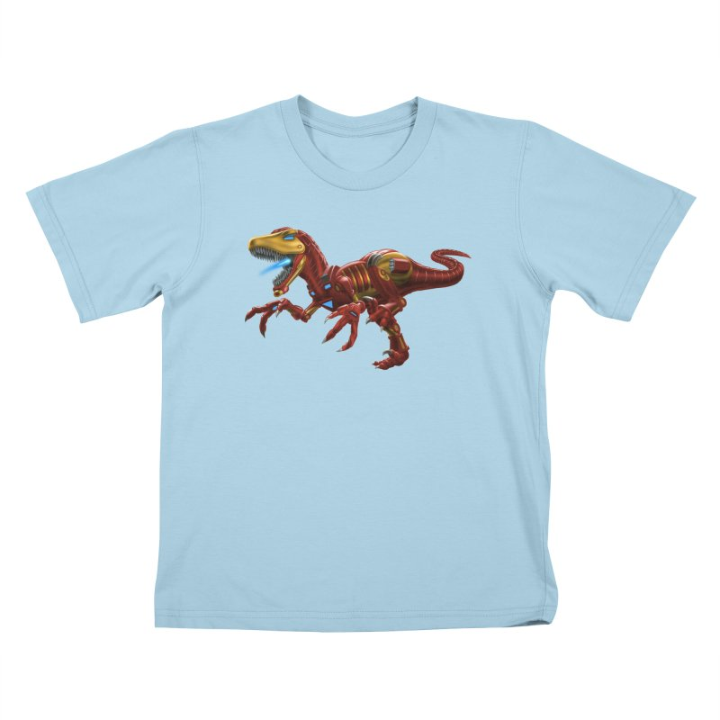 Iron Raptor Kids T-Shirt by Ayota Illustration Shop