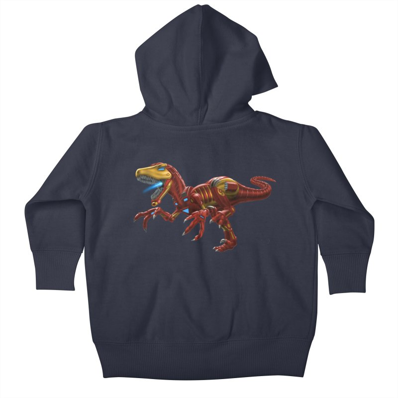 Iron Raptor Kids Baby Zip-Up Hoody by Ayota Illustration Shop