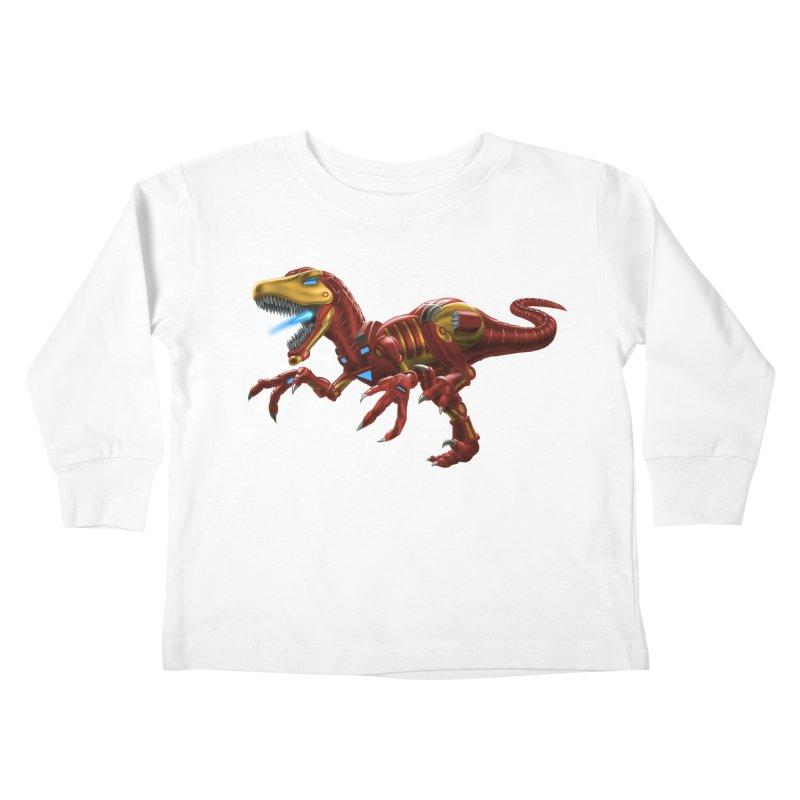 Iron Raptor Kids Toddler Longsleeve T-Shirt by Ayota Illustration Shop