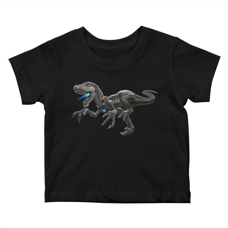 Metal Raptor Kids Baby T-Shirt by Ayota Illustration Shop