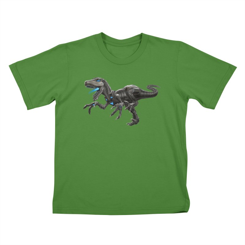 Metal Raptor Kids T-Shirt by Ayota Illustration Shop