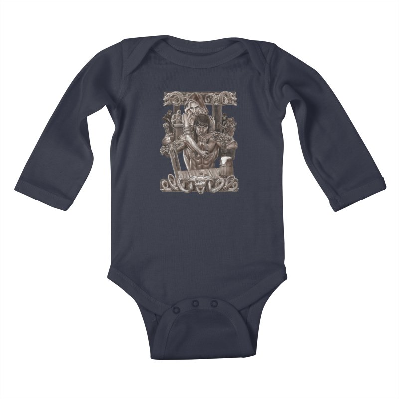 Barbarian Brew Kids Baby Longsleeve Bodysuit by Ayota Illustration Shop