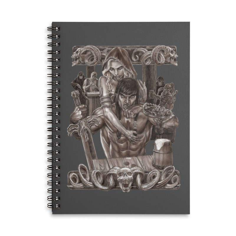 Barbarian Brew Accessories Lined Spiral Notebook by Ayota Illustration Shop