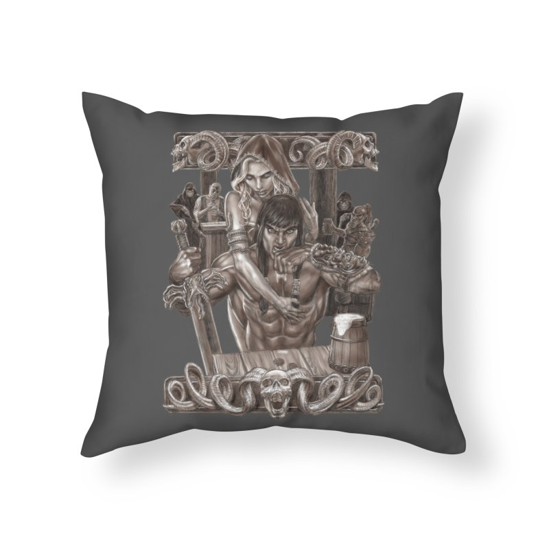 Barbarian Brew Home Throw Pillow by Ayota Illustration Shop