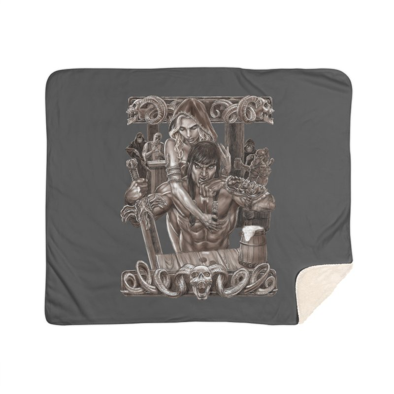Barbarian Brew Home Sherpa Blanket Blanket by Ayota Illustration Shop