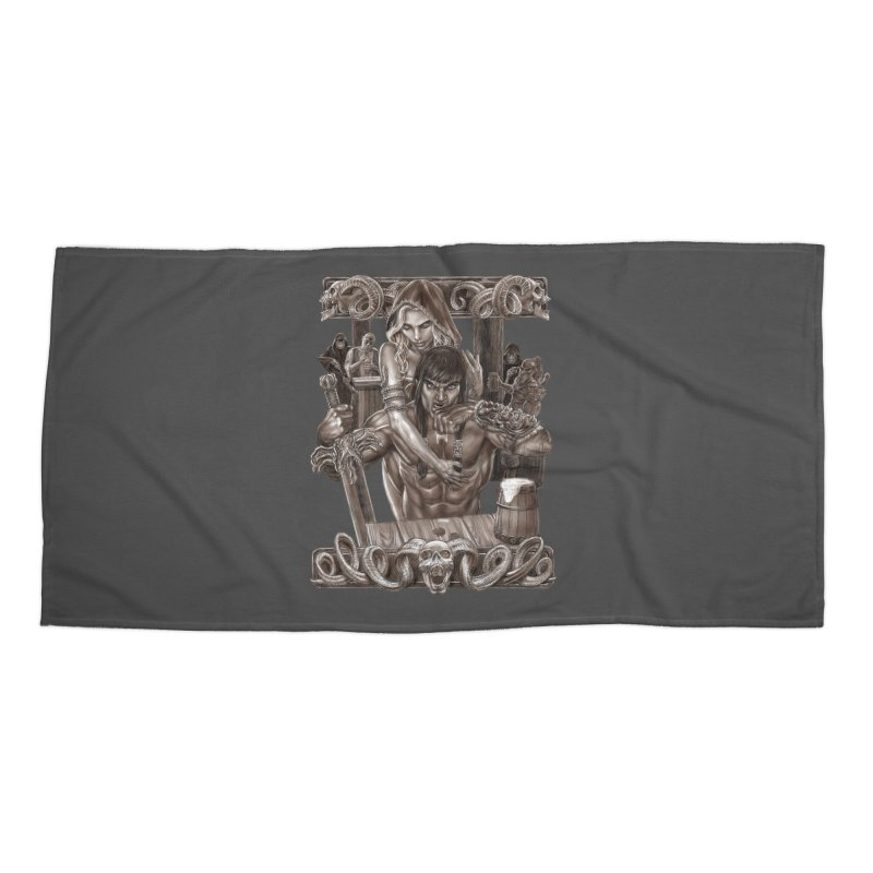 Barbarian Brew Accessories Beach Towel by Ayota Illustration Shop