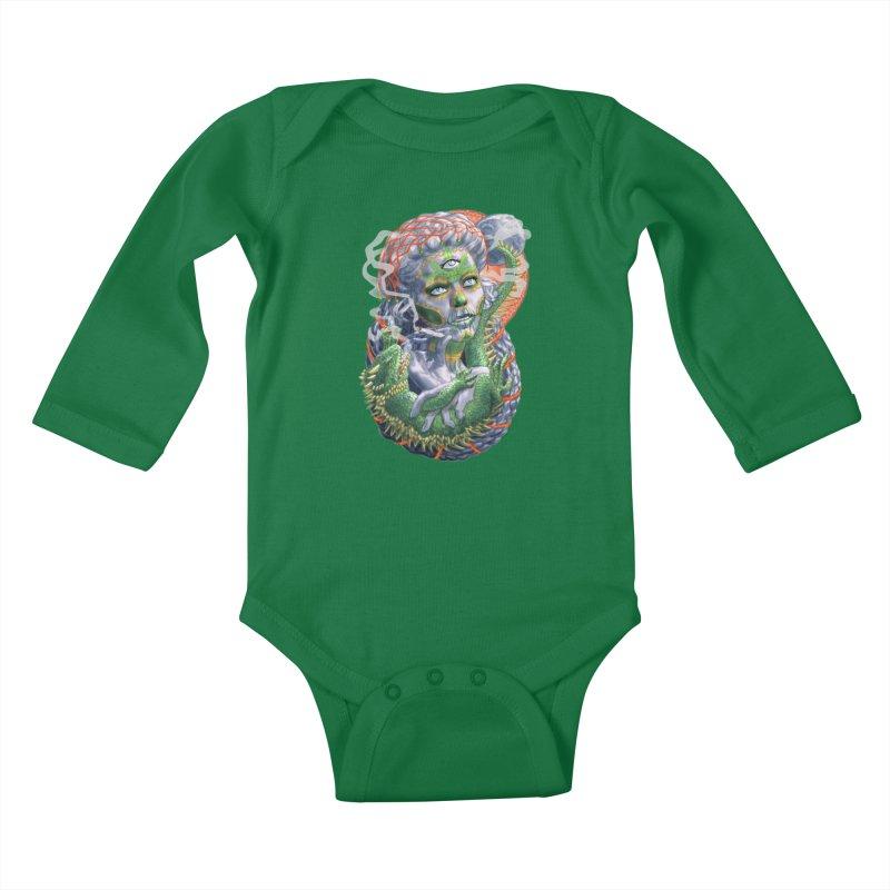 Mary Jane Catrina Kids Baby Longsleeve Bodysuit by Ayota Illustration Shop