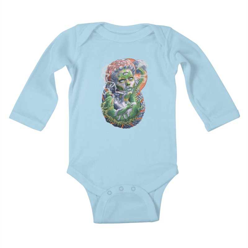 Mary Jane Catrina Kids Baby Longsleeve Bodysuit by Ayota Illustration Shop