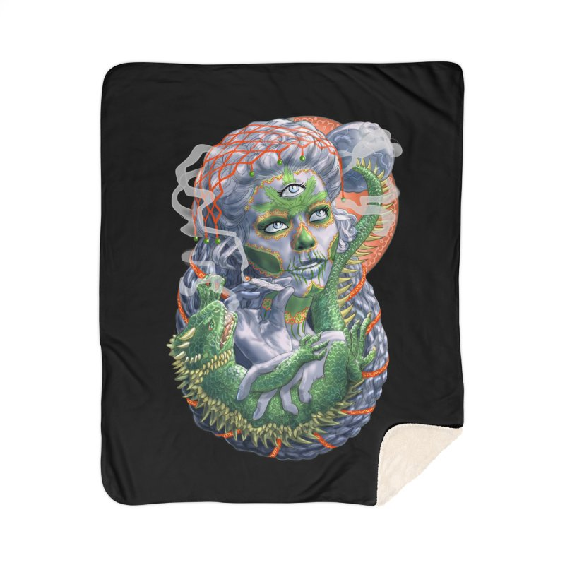 Mary Jane Catrina Home Sherpa Blanket Blanket by Ayota Illustration Shop