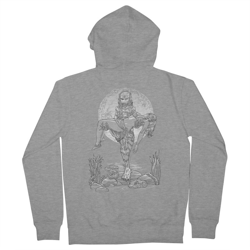 She Creature from the Black Lagoon Black & White Women's French Terry Zip-Up Hoody by Ayota Illustration Shop