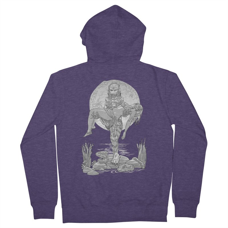 She Creature from the Black Lagoon Black & White Men's French Terry Zip-Up Hoody by Ayota Illustration Shop