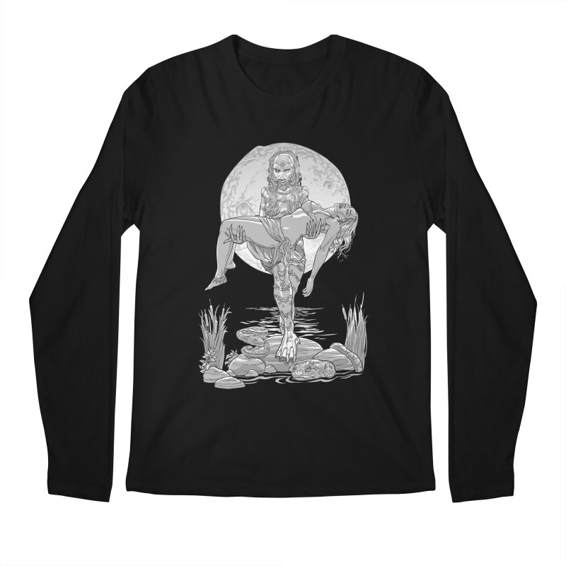 She Creature from the Black Lagoon Black & White Men's Longsleeve T-Shirt by Ayota Illustration Shop