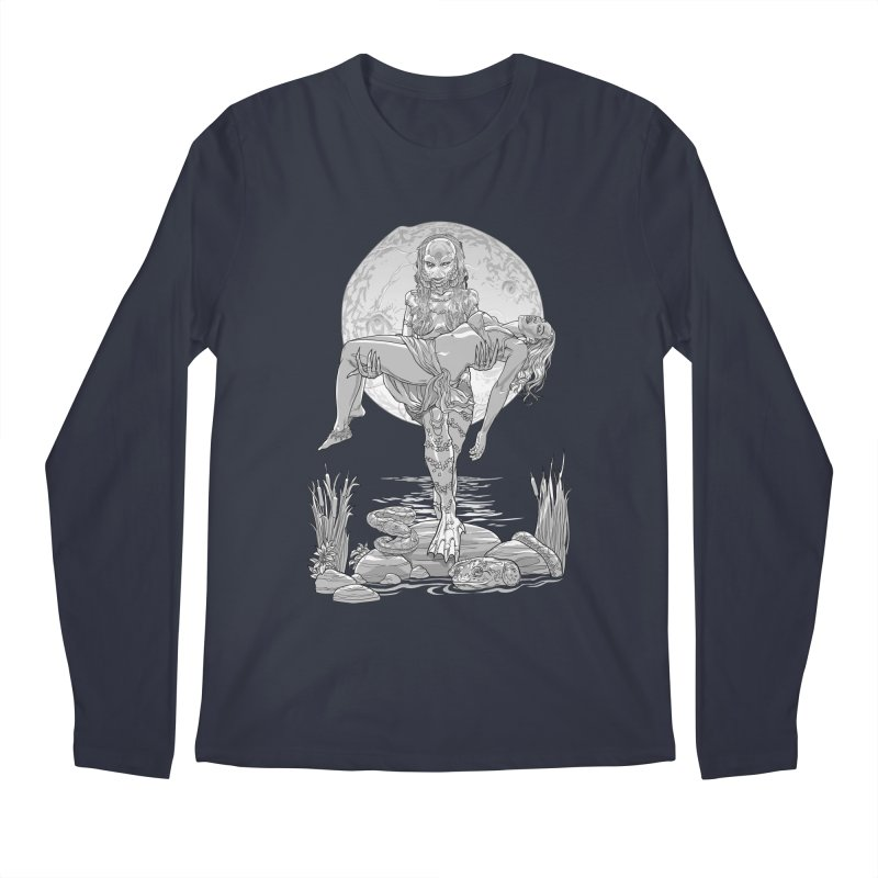 She Creature from the Black Lagoon Black & White Men's Regular Longsleeve T-Shirt by Ayota Illustration Shop