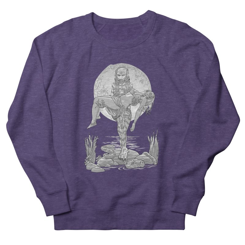 She Creature from the Black Lagoon Black & White Women's French Terry Sweatshirt by Ayota Illustration Shop